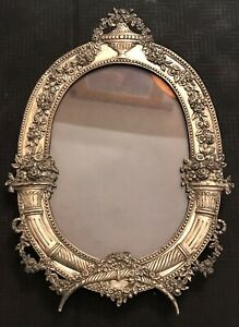 Ornate Antique German Victorian 800 Sterling Silver Picture Frame