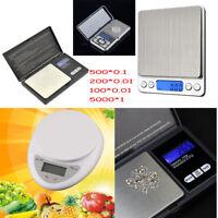 5000g X 1g 0.01g Digital Pocket Scale Jewelry Weight Electronic Balance Gram EN