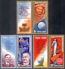 Rusia Yuri Gagarin 1981/vuelo espacial/Transporte de cohete/3v Set + lbls (b1619)
