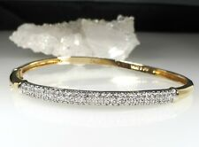 STERLING SILVER 925 DIAMOND GOLD TONE BANGLE BRACELET 12.5 GRAMS