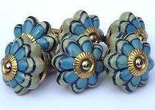 céramique boutons tire-placard deux couleurs fleur bleu sur vert (laiton Coupe )