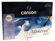 CANSON MONTVAL - A3 - 300 g/mq - GRANA FINE - BLOCCO 12 FG - ACQUERELLO