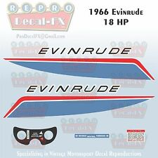 1966 Evinrude 18 HP Outboard Reproduction 7 Piece Marine Vinyl Decal 18602-18603