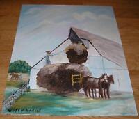 AMERICANA VINTAGE FARM HORSES BARN HAY FARMER COWBOY LANDSCAPE FOLK ART PAINTING