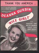 Thank You America 1941 Deanna Durbin Nice Girl Sheet Music