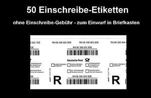 50 Stück Einschreibe-Labels (ohne Porto) - zum Einwurf in Briefkasten