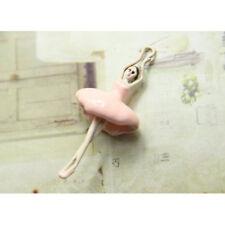 2 Ballerina Girl Charm Hand Painted PINK Enamel Tutu Pendant Ballet Pendant