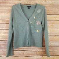 Ann Taylor Womens Size M Sweater Angora Blend Embroidered Cardigan Long Sleeve