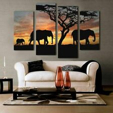 Home Decoration Paintings On Canvas 4 Pieces Sunset Elephant Pictures Posters