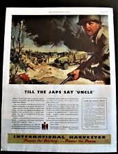 Bull Dozers, Soldiers, Truck in Invasion Assault WWII International Harvester Ad