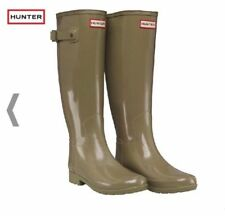 Hunter Original Refined Wellies sage green gloss wellington boots UK 4 EU 37