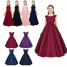 Flowers Girls Princess Dress Kids Pageant Wedding Bridesmaid Bowknot Prom Gown