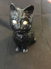 Black Cat Plastic Coin Piggy Bank Glow In The Dark Eyes Kitty Mouth Opens