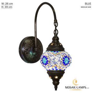 Turkish Mosaic Single Swan Neck Wall Lamp, Traditional Ceiling Lightings, Medium