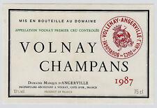 France VOLNAY CHAMPANS 1987 Domaine Marquis d 'ANGERVILLE * vintage wine label