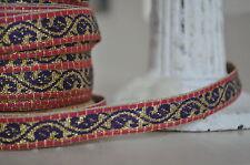 2M Danish Luxury Paisley Pink Gold Ribbon Trim 12mm Width Dressmaking Gift Wrap