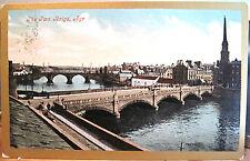 Scottish Postcard AYR Scotland TWA BRIGS Two Bridges UK Ayrshire Valentine 1907