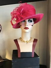 Stunning Failsworth Millinery Designer Fuschia  Races /Wedding Hat With Feathers