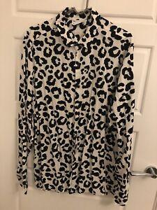 Mens Asos Long Sleeve Leopard Print Shirt Large Brand New