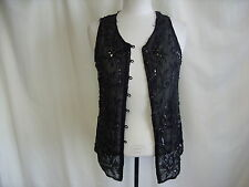 "Ladies top sleeveless sheer black w/beads bust 32"" length 23"" signs of wear 1144"