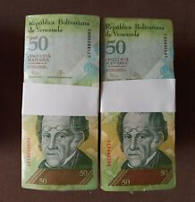 2007-2015 Venezuela 50 Bolivares 2 BRICKS 2000 Pcs. F, VF, XF USED 20 Bundles 1