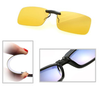 Night Vision Anti Glare Polarized Clip On Driving Glasses Sunglasses UV400 Lens