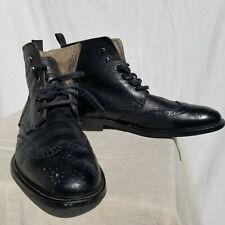 Aldo Men's Black Leather Lace Up Wingtip Preowned Boots, US 8 / Eur41