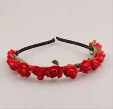 Boho Wedding Bridal Crown Rose Flower Headband Floral Hair Garland Festival Red