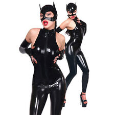 Sleeveless Latex Rubber Catwomen Bodysuit with Mask and Gloves Club Wear Catsuit