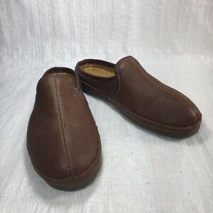 L.L. Bean 272349 Brown Elkhide Leather Slide On Mens House Slipper Scuffs Sz 12M