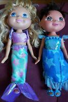 "2006 Dora The Explorer and Marina the Mermaid Dolls. 11"" dolls. w/ clothes. GUC"