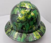 Hard Hat FULL BRIM custom hydro dipped , OSHA approved GREEN HULK NEW KILLER