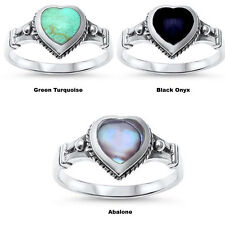 Multi Turquoise BLACK ONYX, Abalone Heart Shape Celtic 925 Sterling Silver Ring