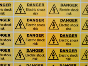 40 X Danger Electric Shock Risk stickers 50mm X 20mm Electrical Warning Labels