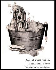 BASSET HOUND IN THE BATH TUB LOVELY COMIC DOG ART PRINT POSTER