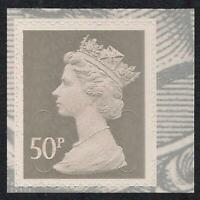 GB 2010 sg U2917 50p Grey Type 3 MA10 MPIL s/a George V booklet stamp MNH