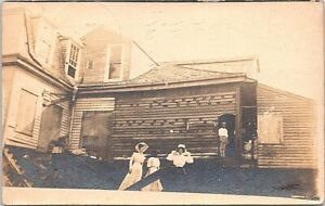 """RPPC New Orleans Scene """"Northerners after the Storm"""" Women in Dresses 1909"""