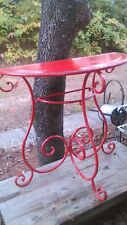 FRENCH COUNTRY PAINTED CHIPPY METAL HALF MOON CURVED MYSTIC GARDEN CONSOLE TABLE