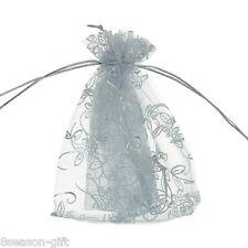 125pcs 10cmx12cm White Leaf&Flower Organza Gift Pouch Bags Wedding X-mas Favor