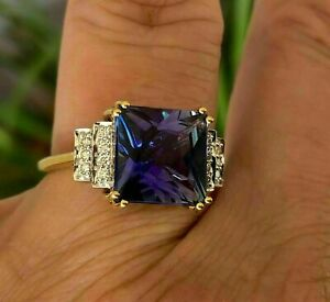 3Ct Princess Cut Blue Sapphire Solitaire Engagement Ring 14K Yellow Gold Finish