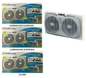 (3) Comfort Zone 11-3/8 In. H 2 Speed Electric Window Fan CZ319WT