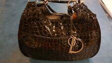 Christian Dior 61 Patent Leather Embossed Crocodile Black Bag