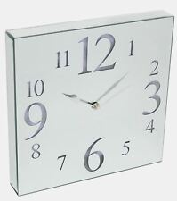 Large Contemporary LED Light Up Square Mirrored Wall Clock 30cm