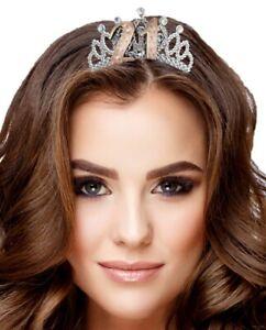 21st Birthday Metallic Rose Gold Silver Tiara Hair Comb Crown Party B-Day Girl
