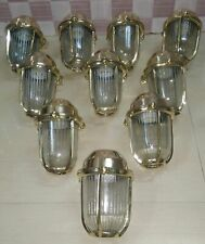 OLD ANTIQUE SALVAGE BRASS NAUTICAL SHIP PASSGEWAY WALL LIGHT LOTS OF 9 PCS