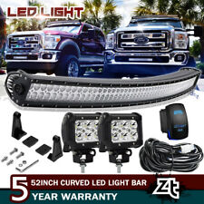 "For 1999-2016 Ford F250 F350 F450 Super Duty 52"" LED Curved Light Bar Combo Kit"