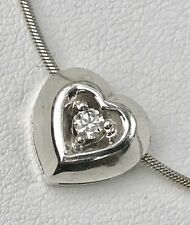 "14k White Gold .10 ct Diamond Heart Pendant + 16.5"" Necklace Snake Chain 5 Grams"