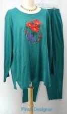 KAVIO DESIGNS Tacky Christmas suit Shirt Top PANT set knit top blouse 2PC 1X 2X