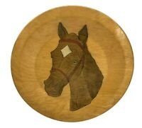 Vintage Wooden Plate - Horse Design Painted on Front - Wall Hanger on Back - 10""