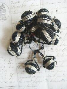 2 Antique/Vintage Silver Metallic/Black Beaded Ball W/Loop Tassel Trim